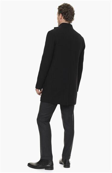 Diyagonal Slım Fit Siyah Palto