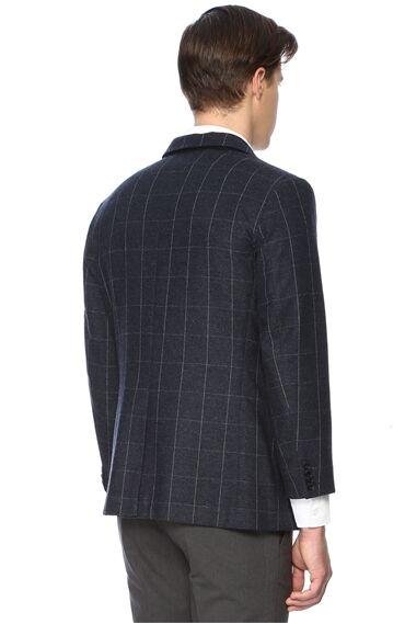 Kareli Slim Fit Lacivert Ceket