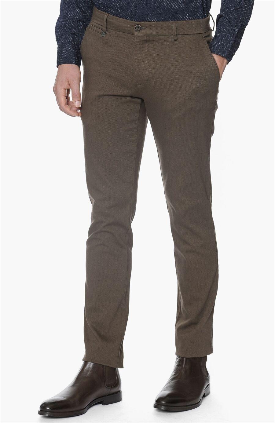 Armürlü Desen Kahverengi Pantolon