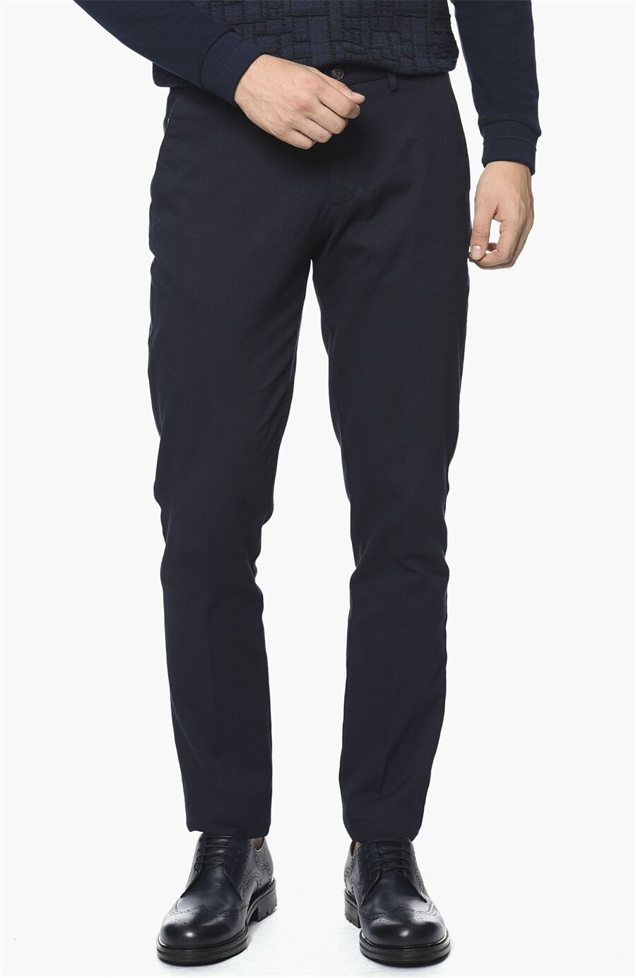 Armürlü Desen Lacivert Pantolon