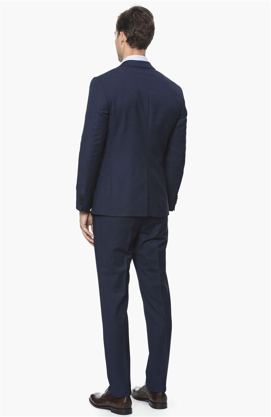 Mikro Slım Fit Lacivert Saks Takım Elbise