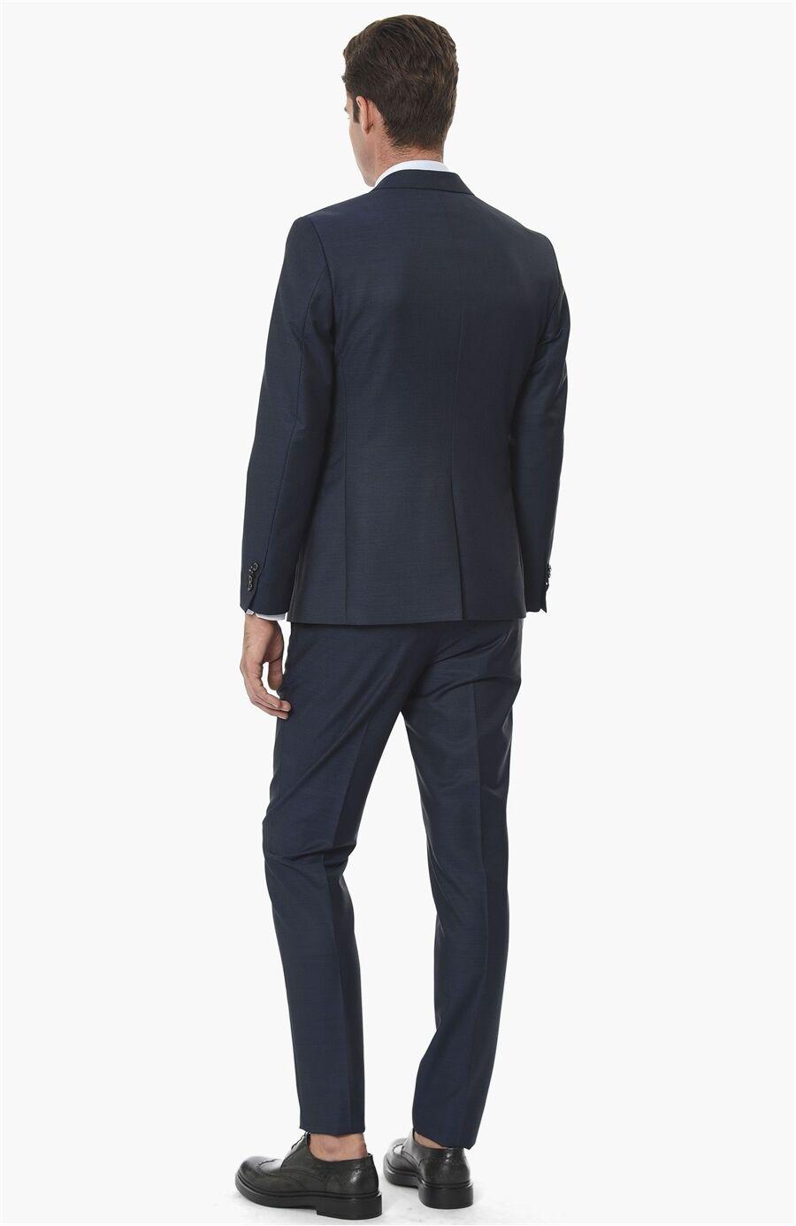 Mikro Slım Fit Saks Yeleklı Takım Elbise