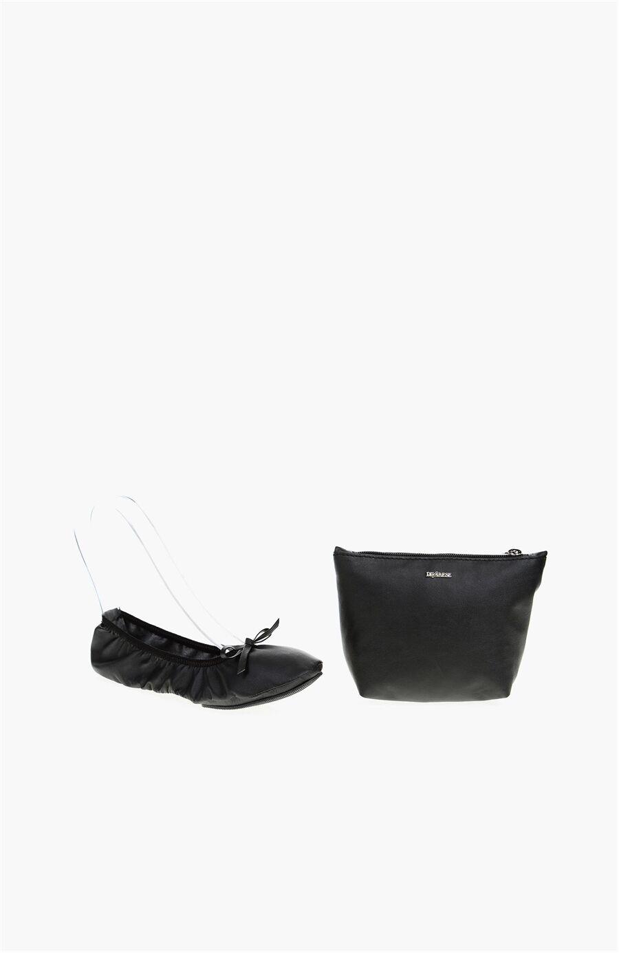 Siyah Kadın Babet+Çanta Set