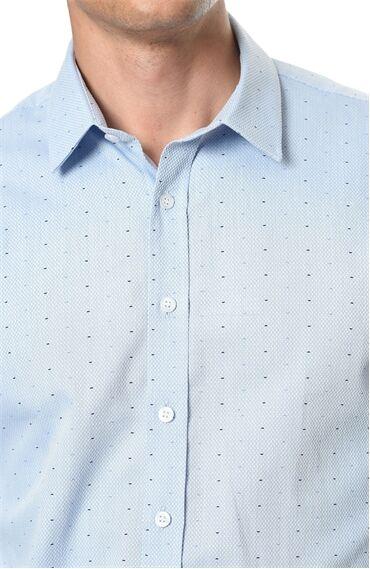 Baskılı Slım Fit Mavi Gömlek