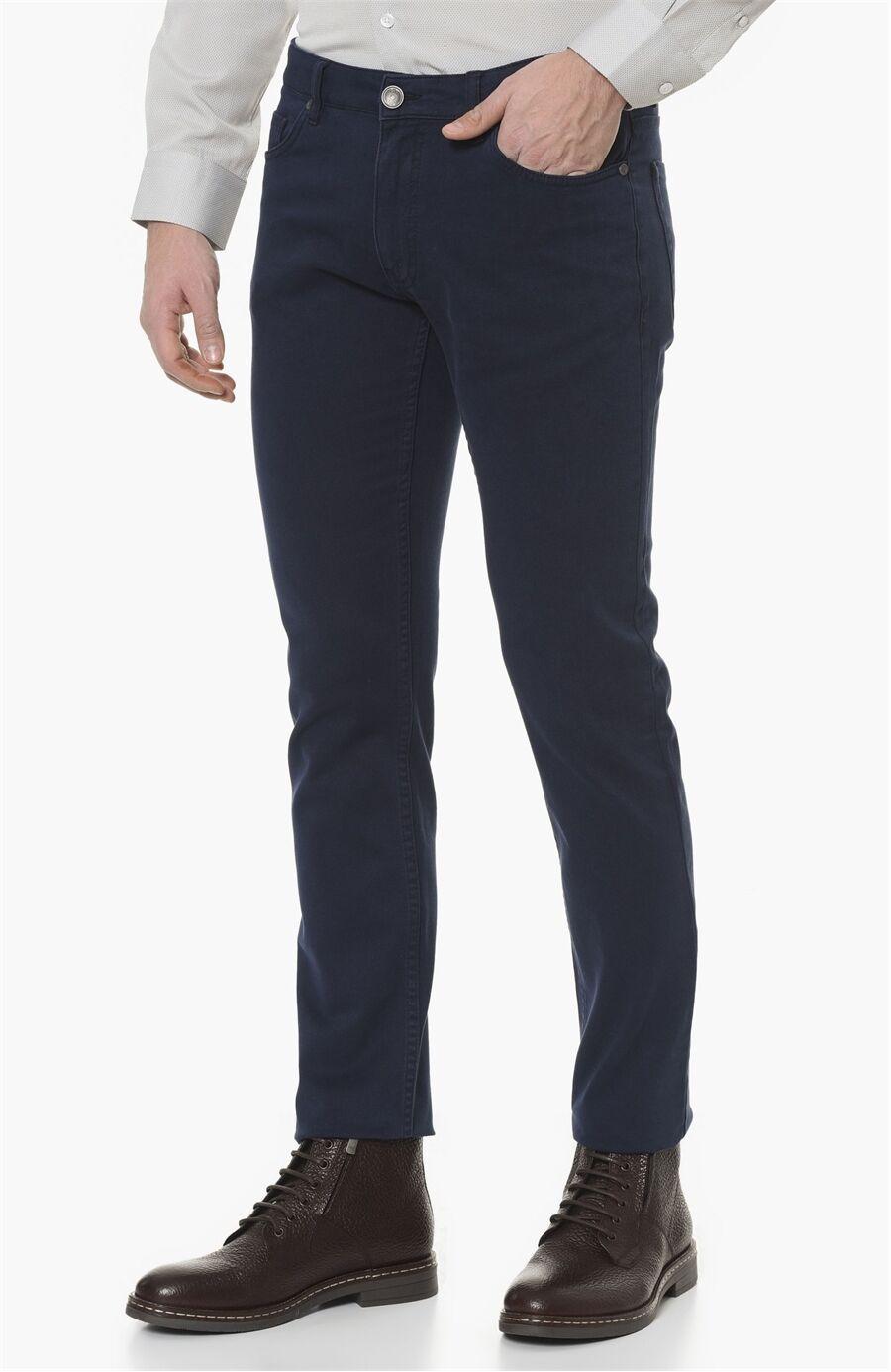 Diyagonal Slım Fit Lacivert Casual Pantolon
