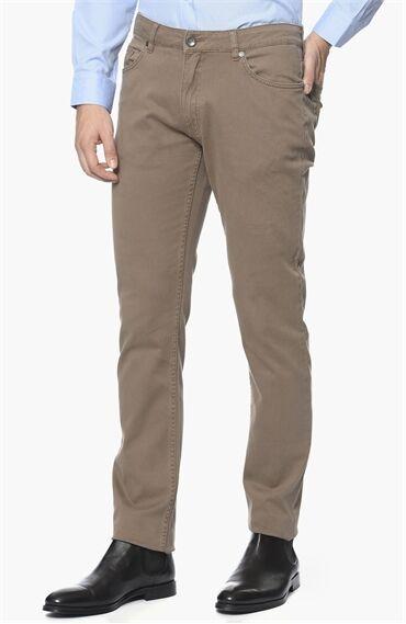 Diyagonal Slım Fit Vizon Casual Pantolon