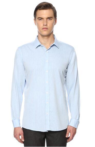 Desenli Slim Fit Açık Mavi Gömlek