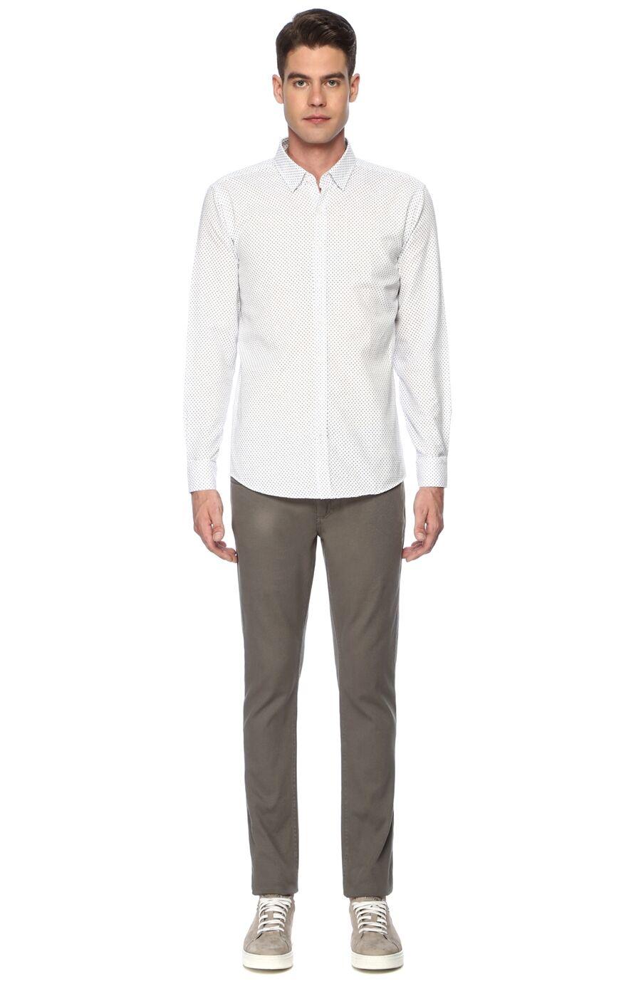 Desenli Slim Fit Beyaz Siyah Gömlek
