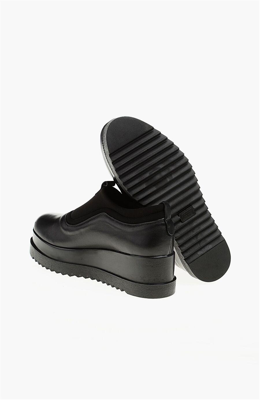 Platformlu Deri Siyah Ayakkabı