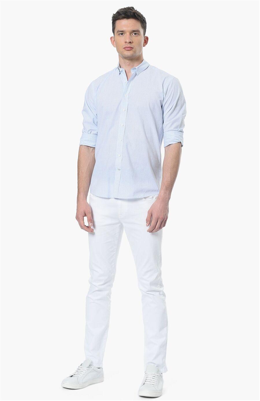 Çizgili Açık Mavi Gömlek
