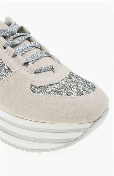 Platformlu Süet Gri Sneaker