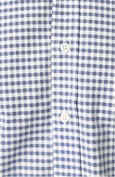 Kareli Slim Fit Mavi Beyaz Gömlek