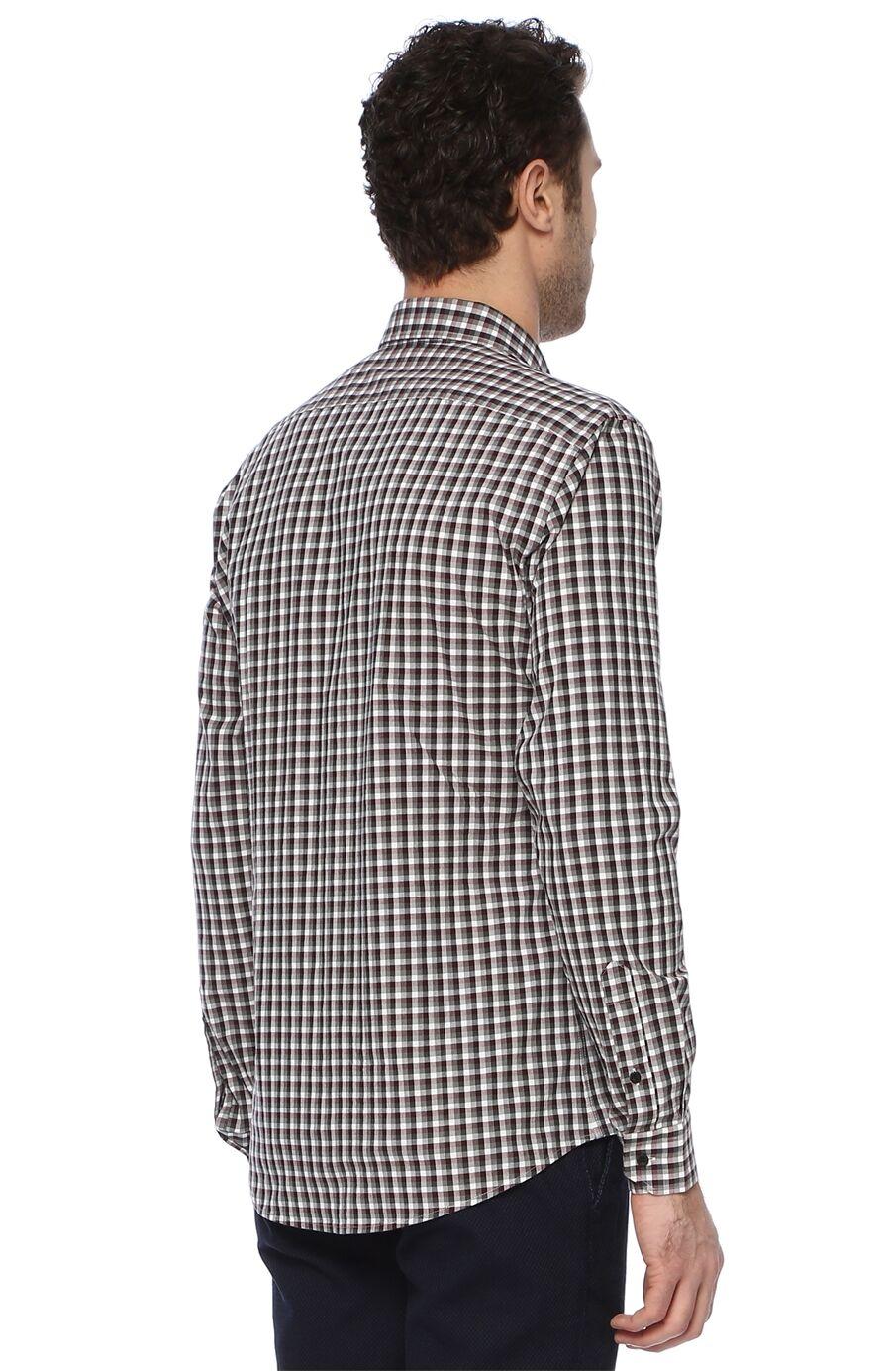 Kareli Slim Fit Haki Gömlek