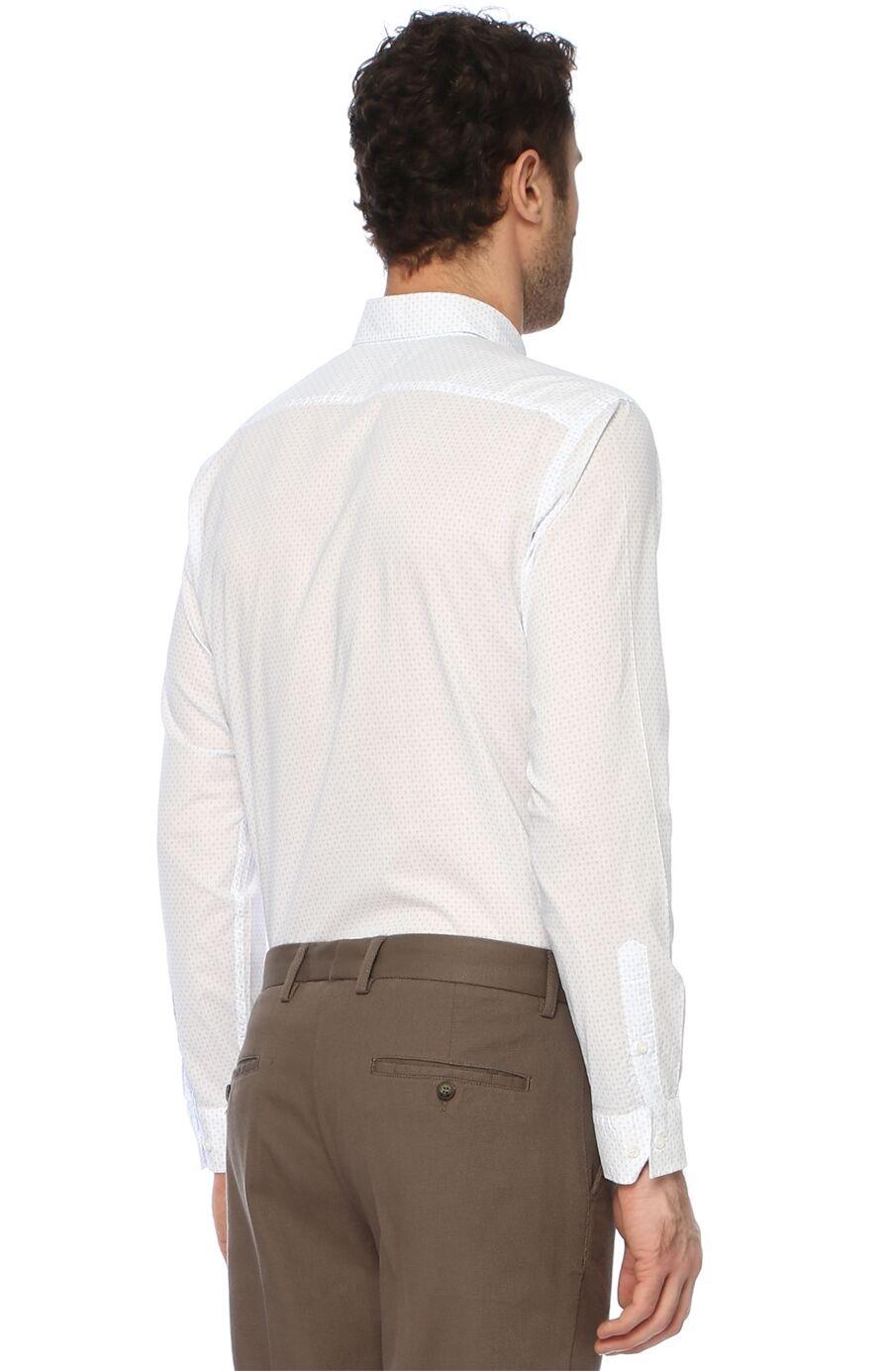 Baskılı Slim Fit Beyaz Mavi Gömlek