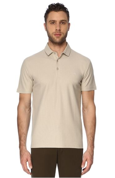 Slım Fit Kısa Kol Bej Tshirt