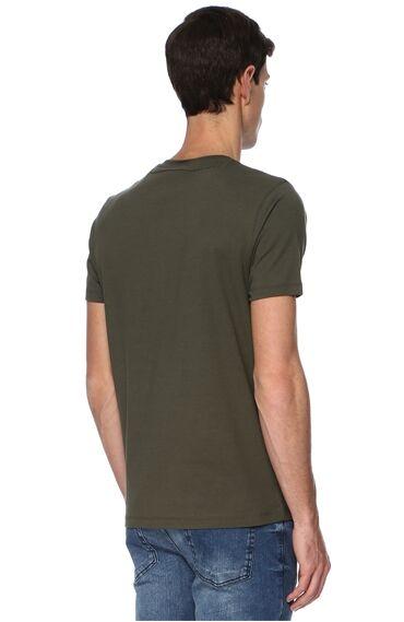 V Yaka Slım Fit Haki Tshirt