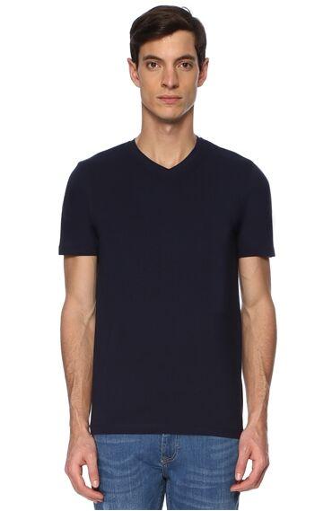 V Yaka Slım Fit Lacivert Tshirt