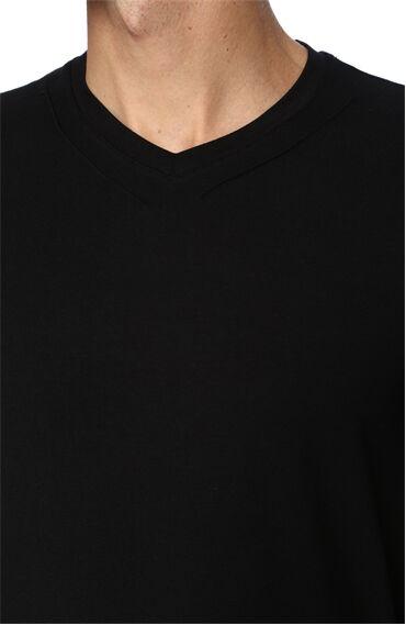 V Yaka Slım Fit Siyah Tshirt