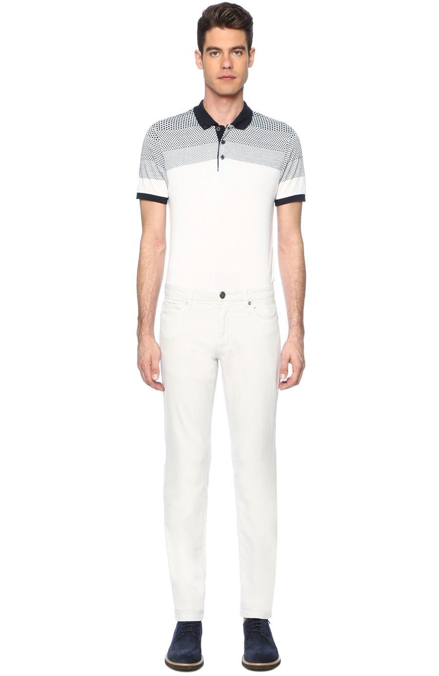 Diyagonal Slım Fit Taş Casual Pantolon