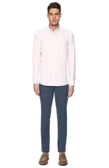 Diyagonal Slım Fit Mavi Casual Pantolon