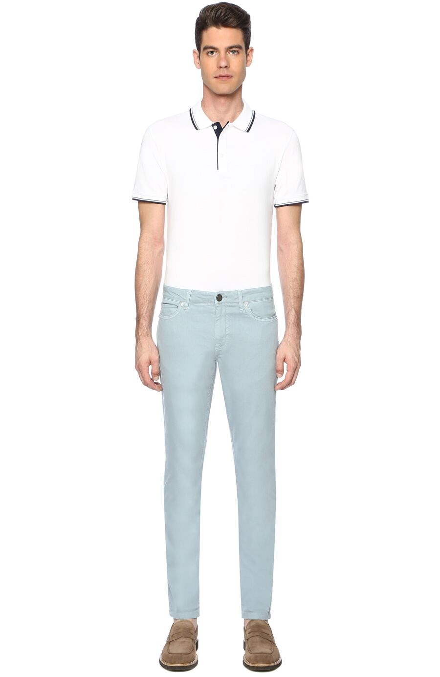 Diyagonal Slım Fit Koyu Mint Casual Pantolon