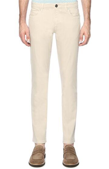 Diyagonal Slım Fit Bej Casual Pantolon