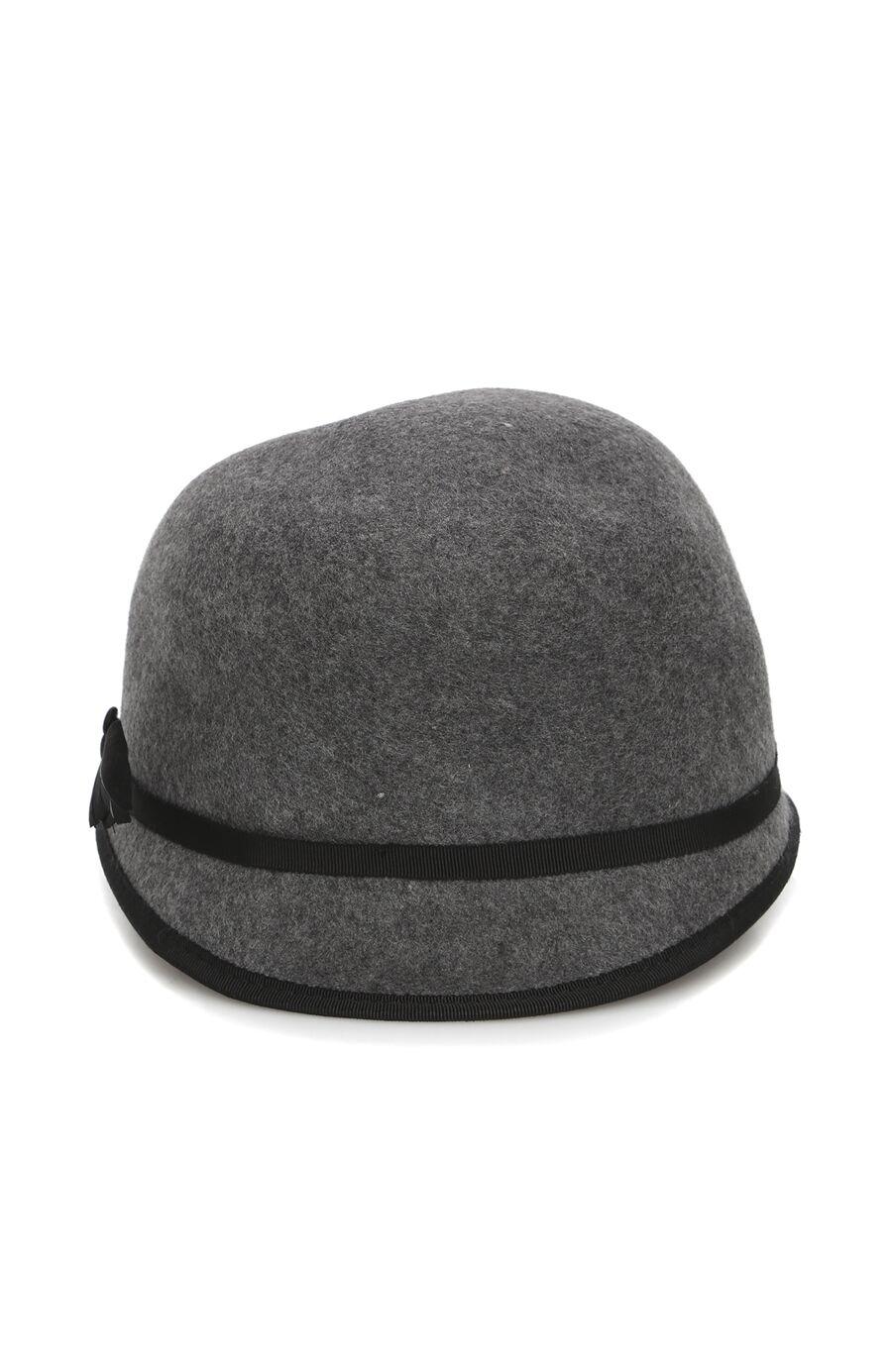 Gri Siyah Bantlı Kadın Şapka