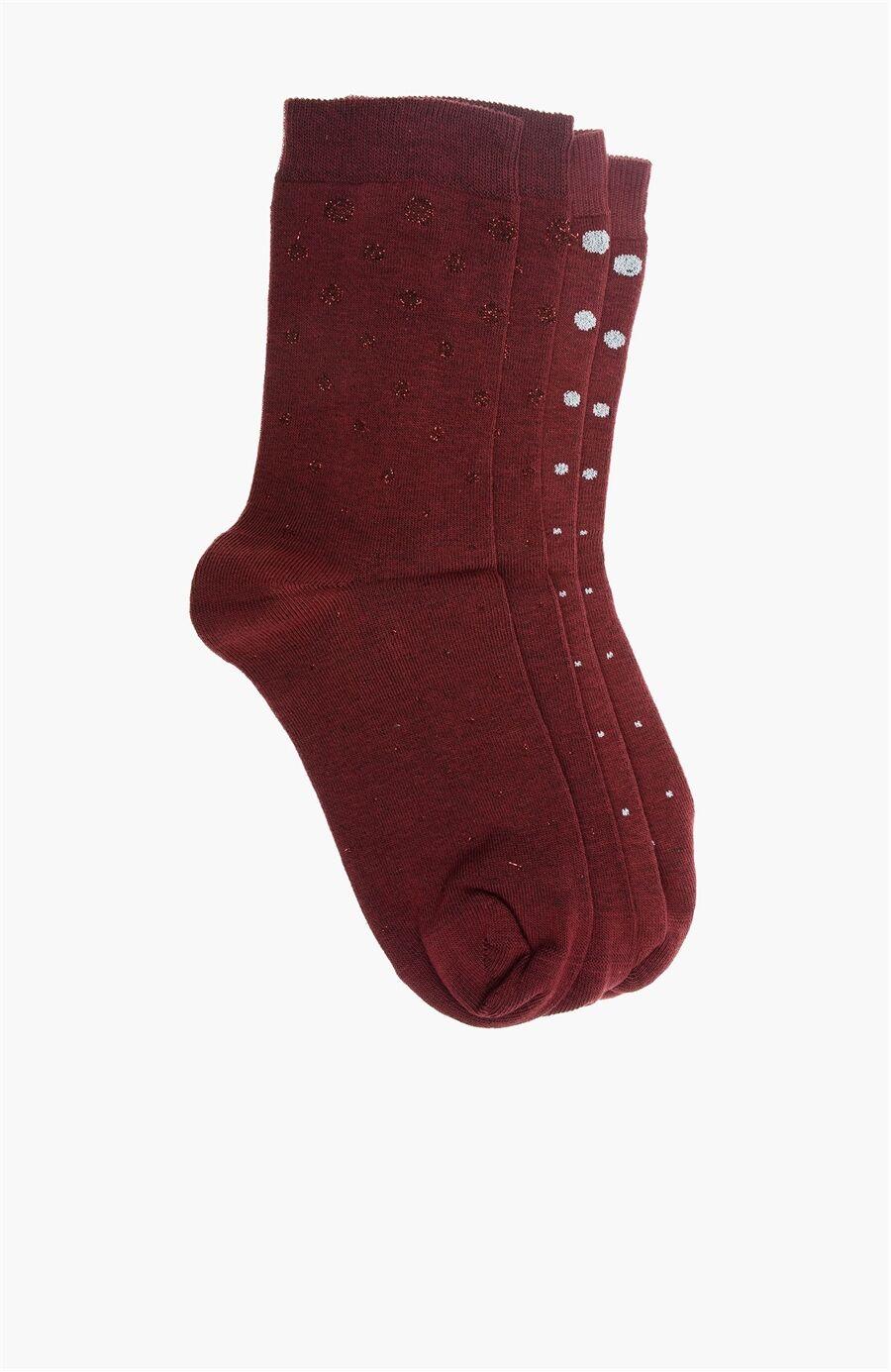 Bordo-Gümüş 2'li Çorap Set