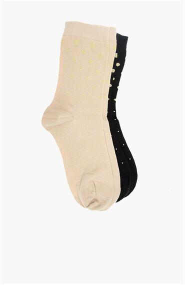Bej 2'li Çorap Set