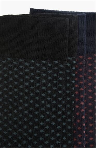 Bamboo Jakarlı Siyah Bordo 2'li Çorap Set
