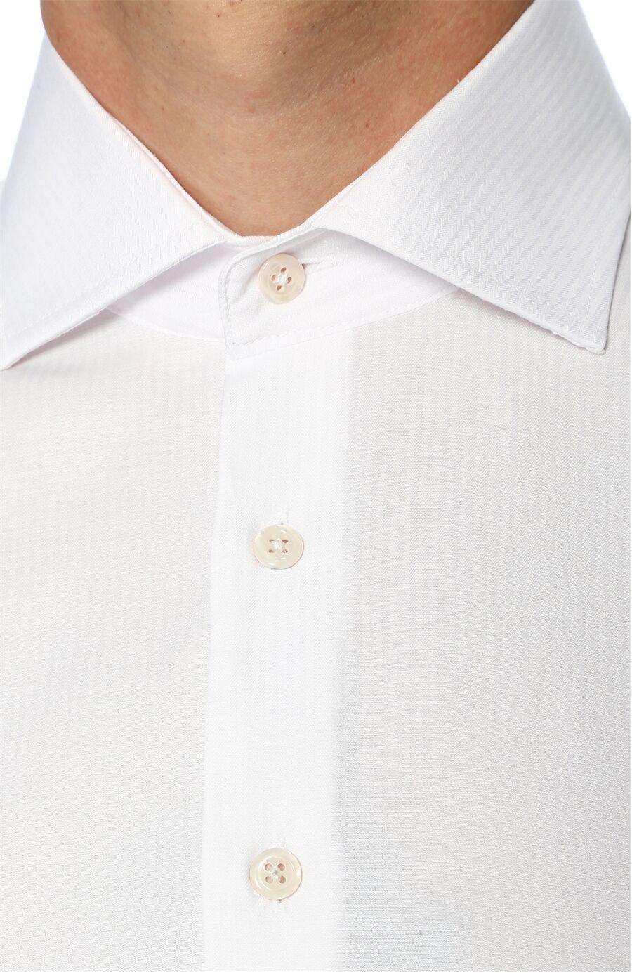 Desenli Slım Fit Beyaz Gömlek