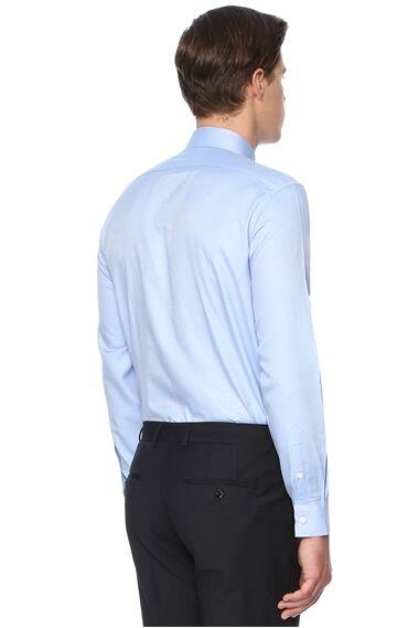 Desenli Slım Fit Mavi Gömlek