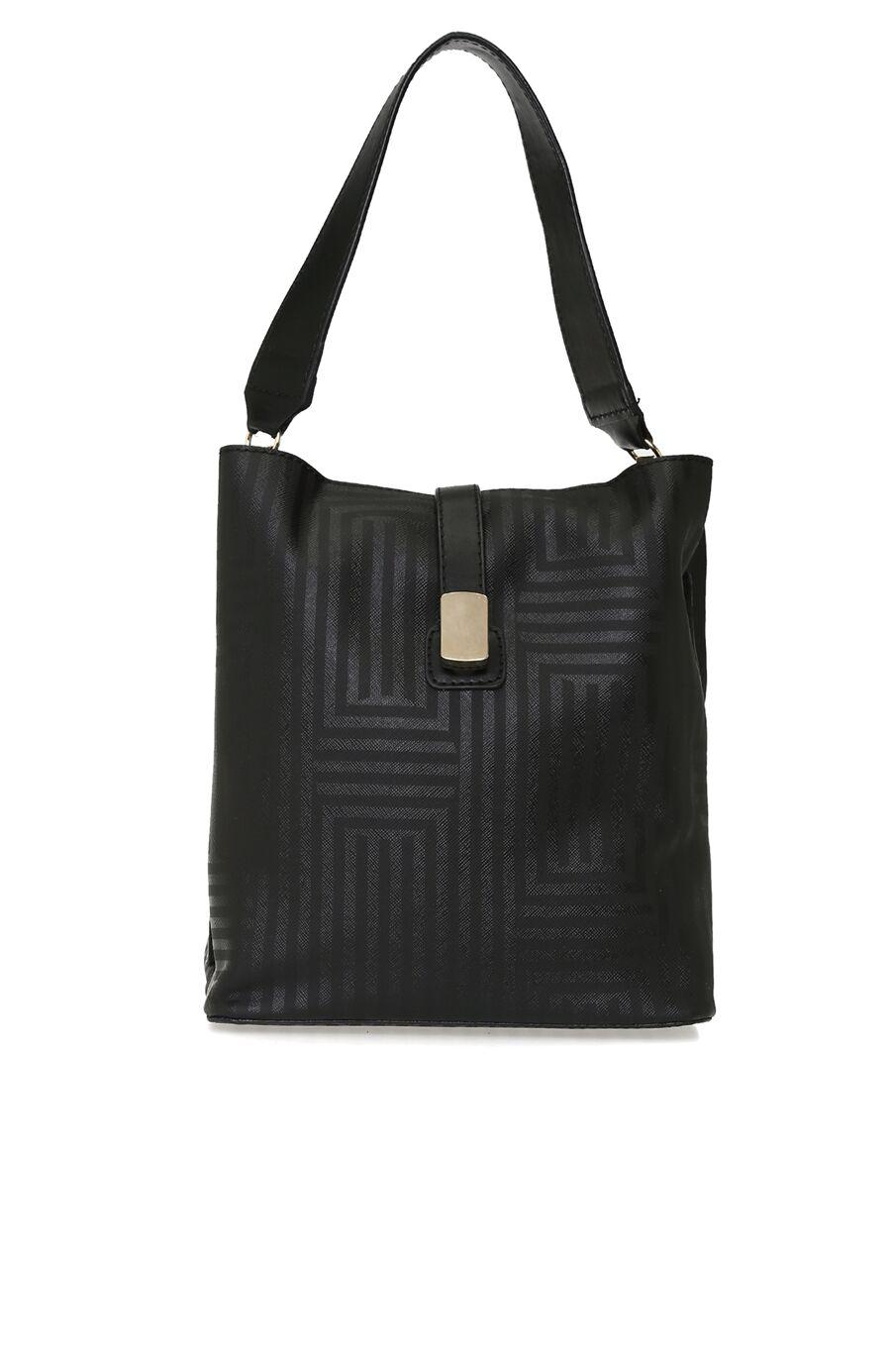 Çizgili Siyah Kadın Çanta