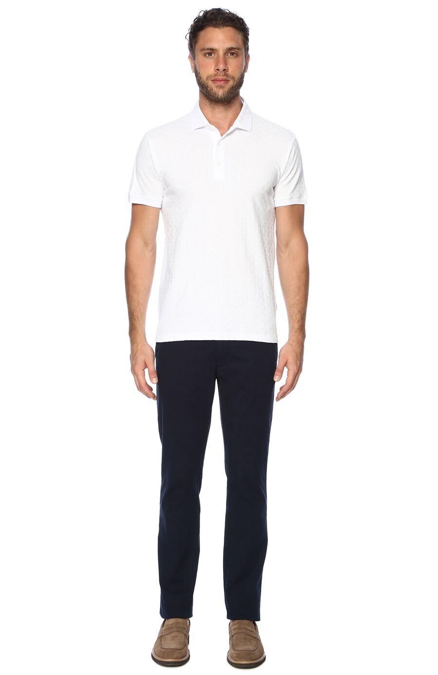 Jakarlı Beyaz Tshirt