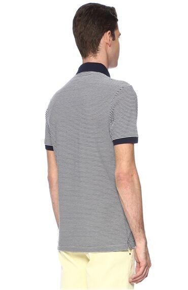 Çizgili Slım Fit Lacivert-Beyaz Tshirt