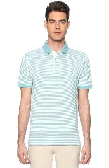 Çizgili Slım Fit Mint Yeşili Tshirt