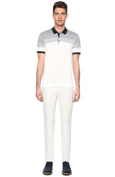 Jakarlı Beyaz Lacivert Tshirt