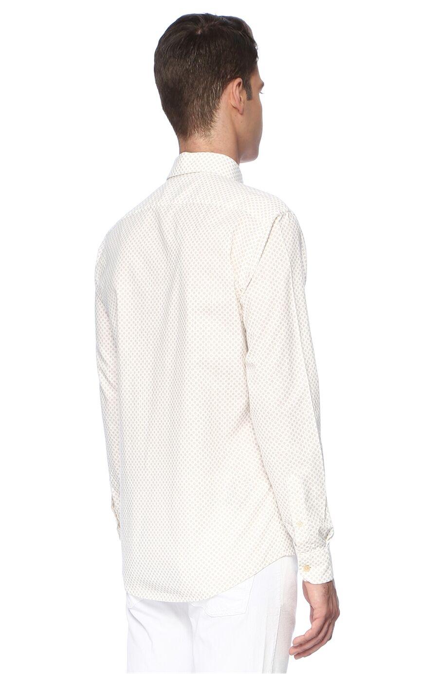 Baskılı Slım Fit Beyaz Bej Gömlek