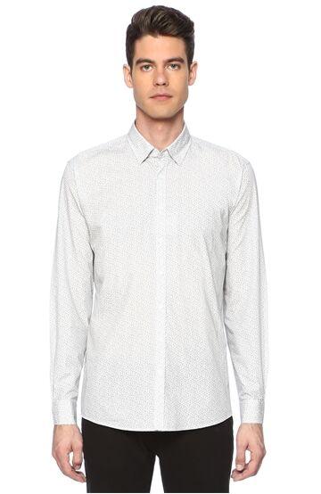 Baskılı Slim Fit Açık Gri Gömlek