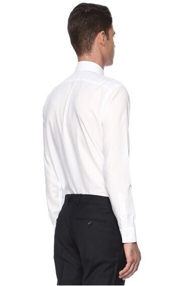 Diyagonal Slim Fit Beyaz Gömlek