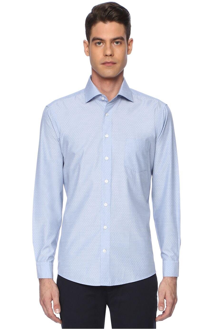 Jakarlı Mavi Gömlek