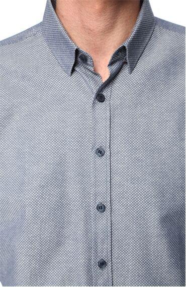 Jakarlı Lacivert Gömlek