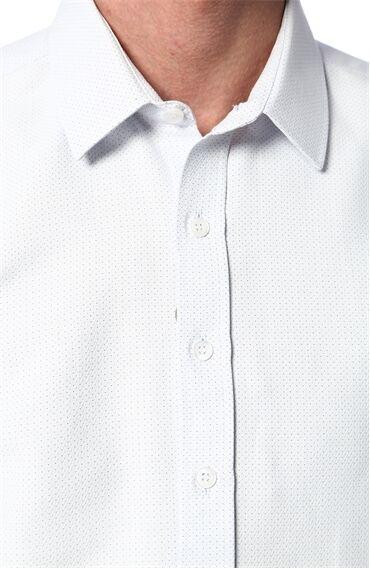 Jakarlı Beyaz Mavi Gömlek