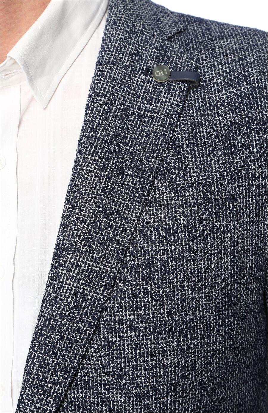 Jakarlı Lacivert-Beyaz Ceket