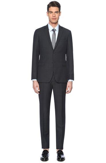 Desenli Slim Fit Siyah Takım Elbise