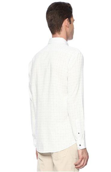Baskılı Slım Fit Beyaz Lacivert Gömlek