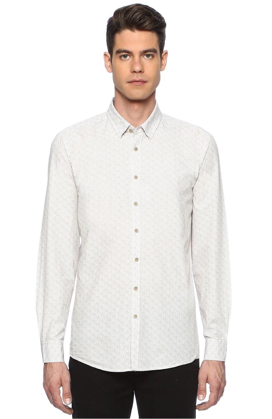 Baskılı Slim Fit Beyaz Bej Gömlek