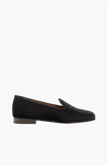 Kadife Siyah Kadın Ayakkabı