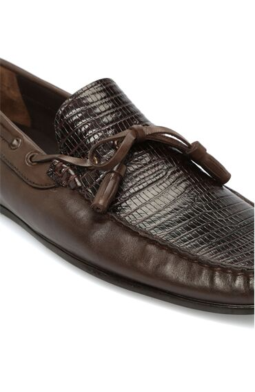 Kahverengi Baskılı Püsküllü Erkek Loafer