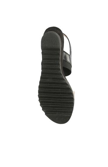 Yılan Baskı Siyah Sandalet